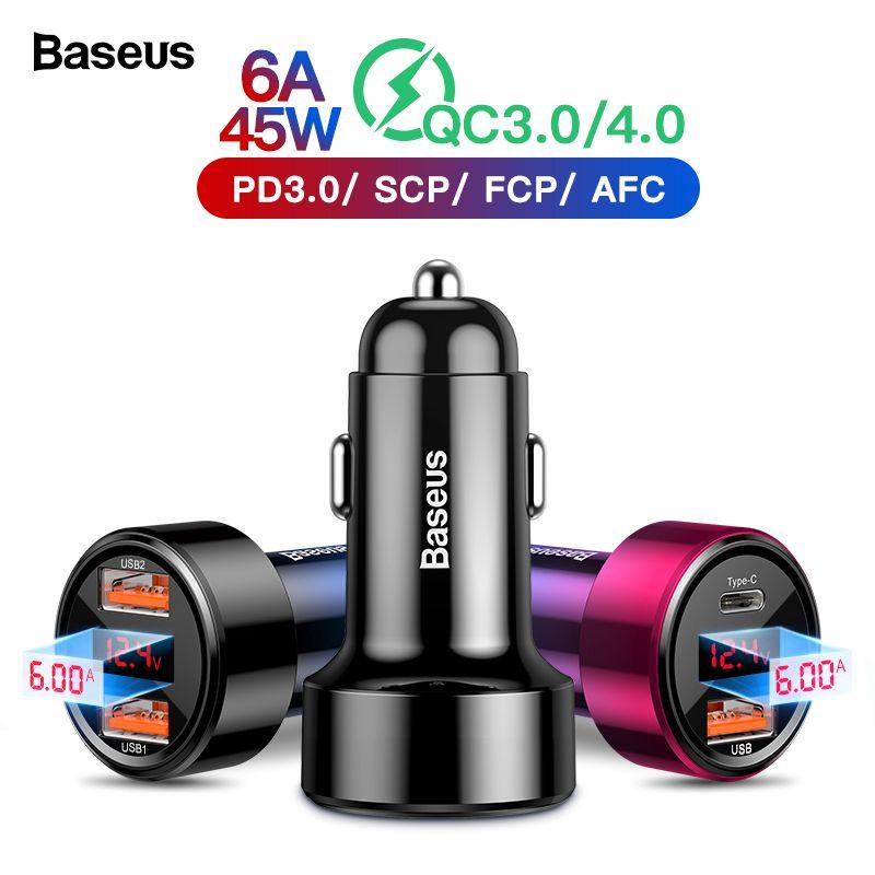 Chargeur de voiture 4.0 3.0 USB Baseus pour iPhone Xiao mi samsung téléphone portable QC4.0 QC3.0 QC Type C PD Charge rapide de voiture
