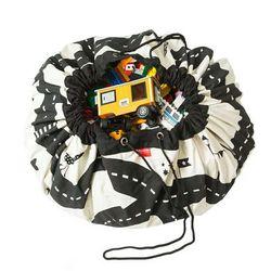 Creativo bolso de almacenamiento de juguete para niños, Alfombra de juego con patrón de camino, esterilla de tela portátil para coches, alfombra para juegos de carreras, piso de bebé
