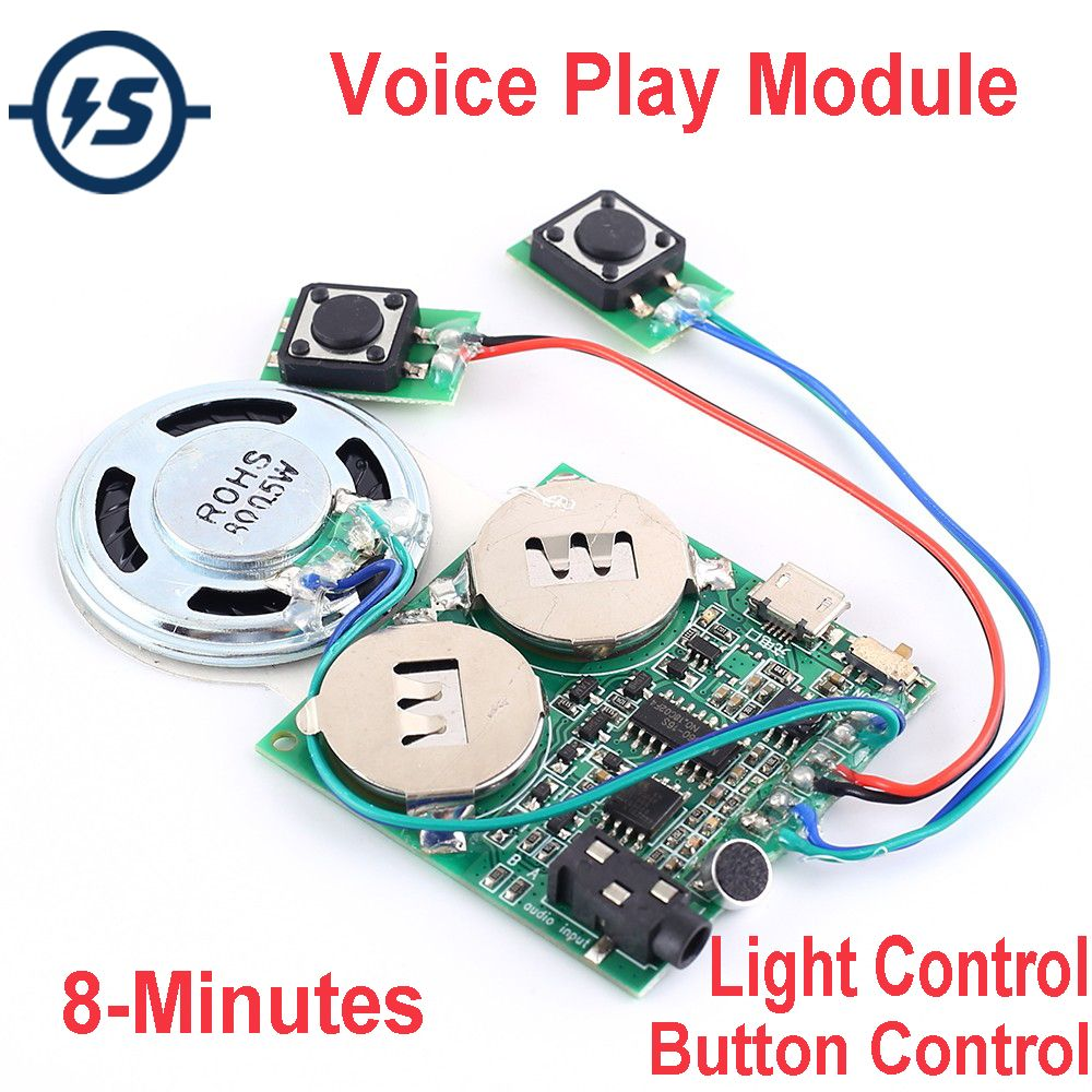 Recording Greeting Card Chip 2-8 minutes Audio Recording For Music / Gift Box Voice Module Sound Card Button/Light Control