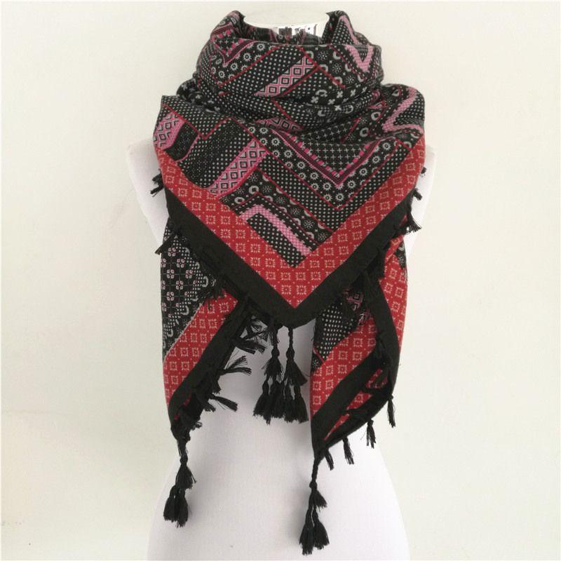Offre spéciale bandana nouvelle mode femme écharpe carré foulards imprimé femmes enveloppes hiver automne dames châle marque de luxe gland écharpe