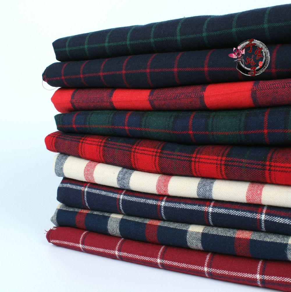 Livraison gratuite 145x50cm haute qualité coton sergé flanelle tissu ponçage doux tissu fils teints noël Plaid chemise tissu 280 g/m