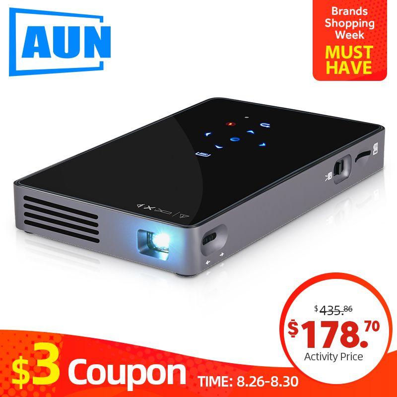 AUN MINI Projektor D5S, Android 7.1 (Optional 2G + 32G) WIFI, 5000mAH Batterie, tragbare LED Projektor für 1080P Video, 3D beamer