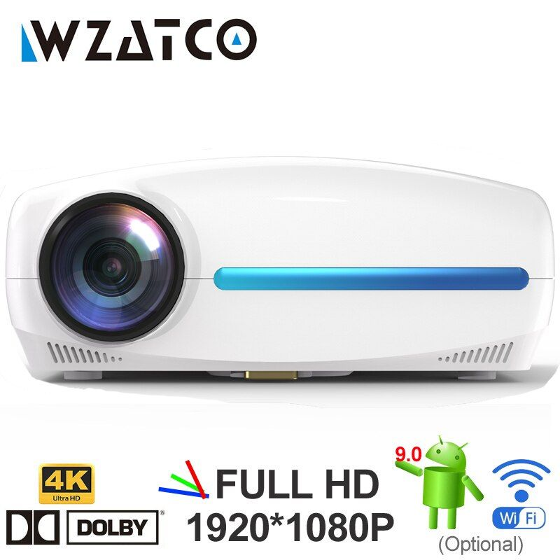 WZATCO C2 4K Full HD 1080P projecteur LED Android 9.0 Wifi intelligent Home cinéma vidéo proyecteur avec correction de clé de voûte numérique