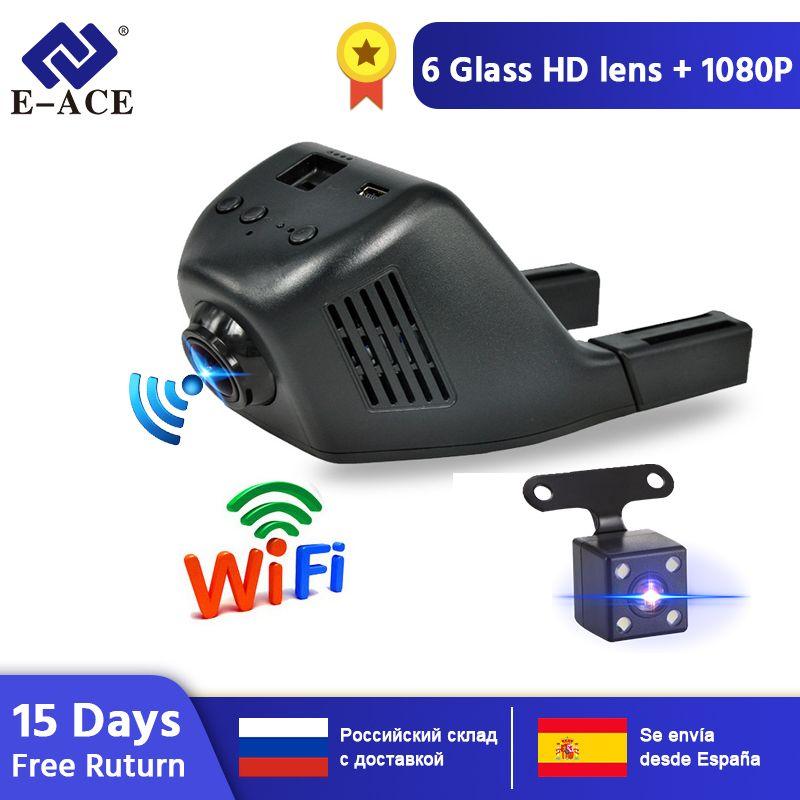 E-ACE Mini Wifi voiture Dvr tableau de bord caméra enregistreur vidéo caméscope double objectif avec caméra de vue arrière FHD 1080P Auto réistrateur Dashcam
