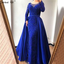 Luxury Pink  Mermaid  Evening Dresses Emeradald  Green Train Long Sleeves Beading Crystal Evening Gown 2020 LA6172