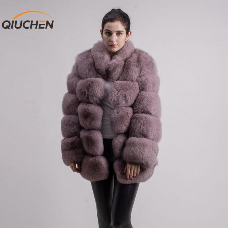 QIUCHEN PJ8142 2019 winter 70cm frauen echt fox pelzmantel mit fuchs pelz kragen langen ärmeln mantel echten fuchs outfit hohe qualität