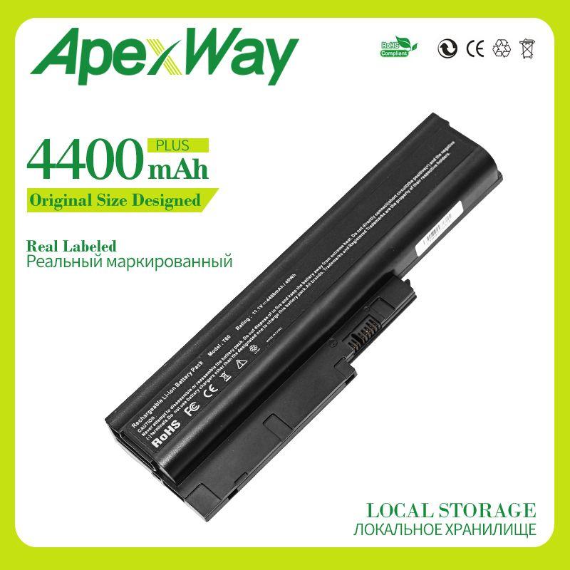 Apexway 11,1 V 4400 mAh 6 zellen Laptop akku für Lenovo t60 t61 SL300 SL400 SL500 42T4560 42T4561 42T4566 42T5233 42T5234 42T5245