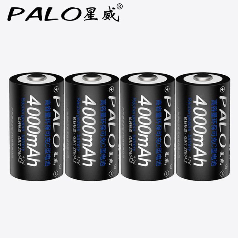 4 pièces 4000mAh 1.2v C Taille Piles Rechargeables Pour Lampe De Poche Cuisinière À Gaz Radio Réfrigérateur Faible auto-décharge batterie NiMh