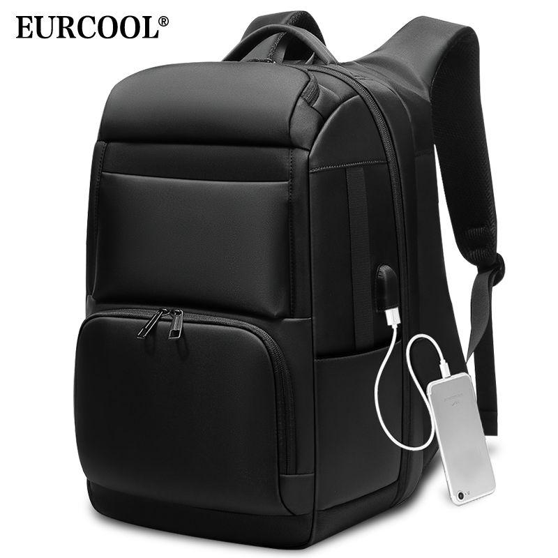 EURCOOL hommes voyage sac à dos grande capacité mâle Mochila dos Anti-voleur sac USB charge 17.3 pouces sac à dos pour ordinateur portable étanche