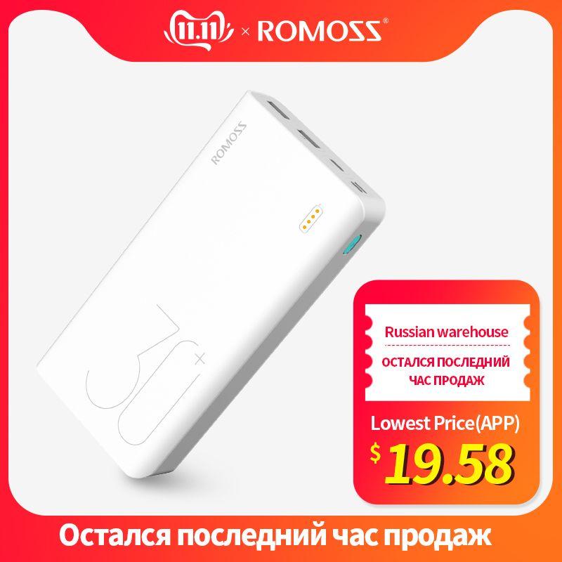 30000mAh ROMOSS Sense 8 + batterie externe Portable batterie externe avec QC chargeur de borne chargeuse Portable de charge rapide bidirectionnelle pour téléphone