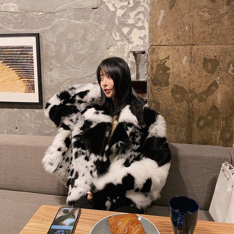 Rf1978 Toskana Schafe Lammfell Mantel Frau Schwarz Weiß Kuh Muster Gedruckt Übergroßen Mode Echt Schafe Pelz Lammfell Jacke