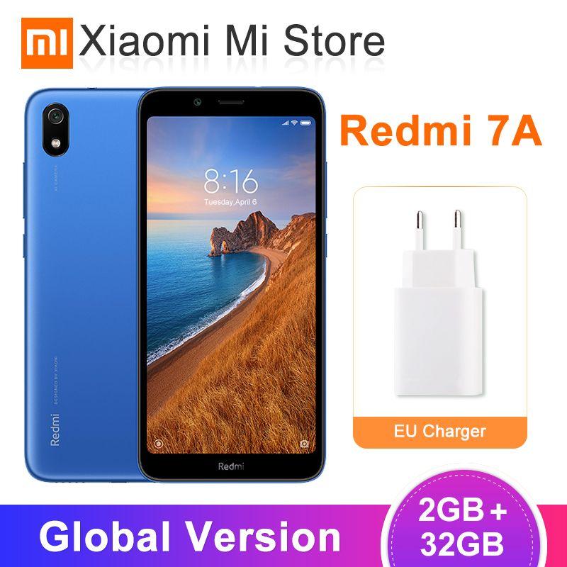 En Stock Version mondiale Xiaomi Redmi 7A 2GB 32GB téléphone Mobile 5.45 Snapdragon 439 Octa core 12MP caméra AI visage déverrouiller les téléphones