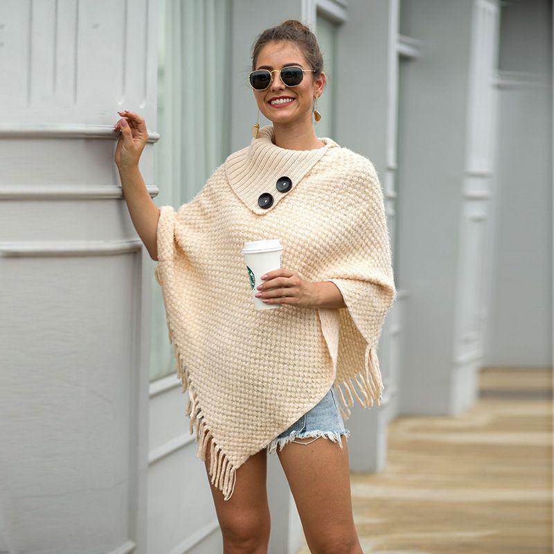 ZADORIN 2019 New Tops Korean Style Women Winter Furry Soft Loose Casual Tassel Cape Overcoat Knitted Sweater Harajuku Female