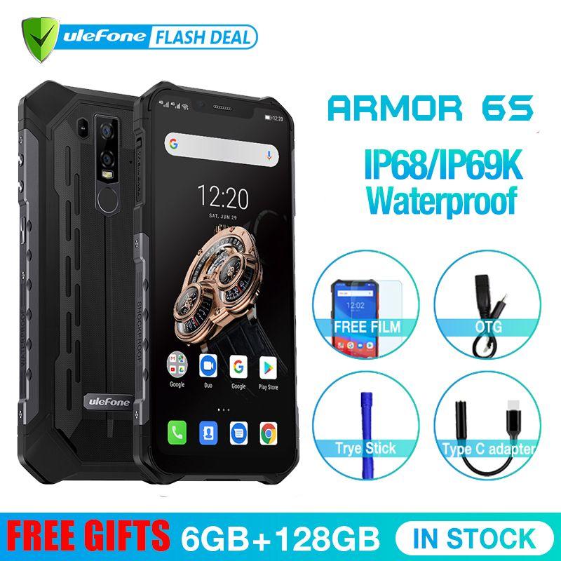 Upgrade Ulefone Rüstung 6S IP68 NFC Robuste Handy Helio P70 Otca-core Android 9.0 6GB 128GB drahtlose lade Smartphone