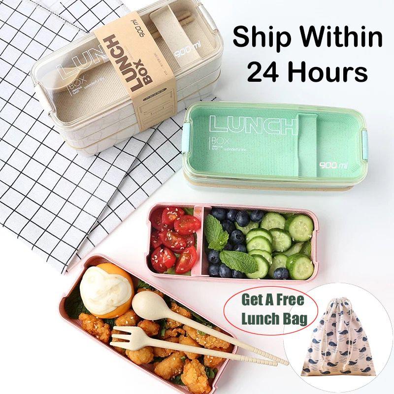 Boîte à Lunch matérielle saine portative de 900ml 3 boîtes de Bento de paille de blé de couche