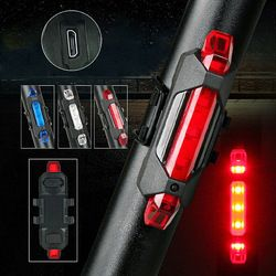 LED Rechargeable Mountain Bike Bicycle USB Taillight Rear Safety Signal Warning Cycling Light Flash Light Super Bright Lamp ALS8
