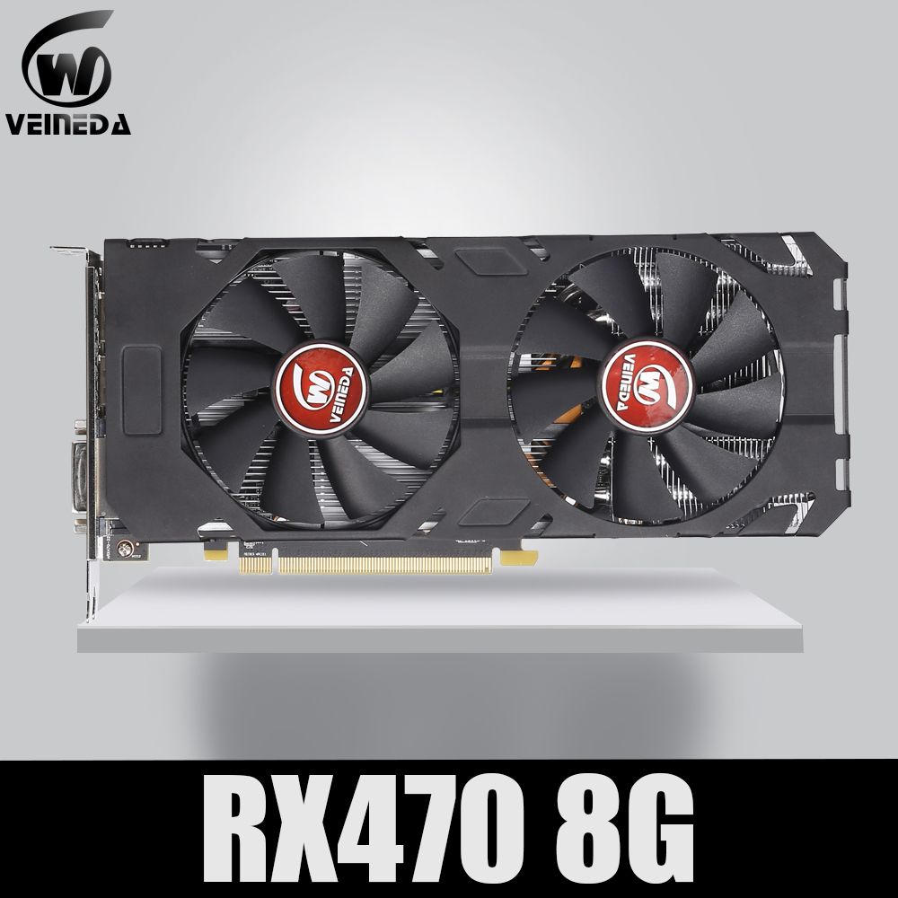 Veineda Video Karte 100% Original neue RX 470 8GB 256Bit GDDR5 DP HDMI DVI für AMD Grafikkarte nicht bergbau Kompatibel rx 570 8gb