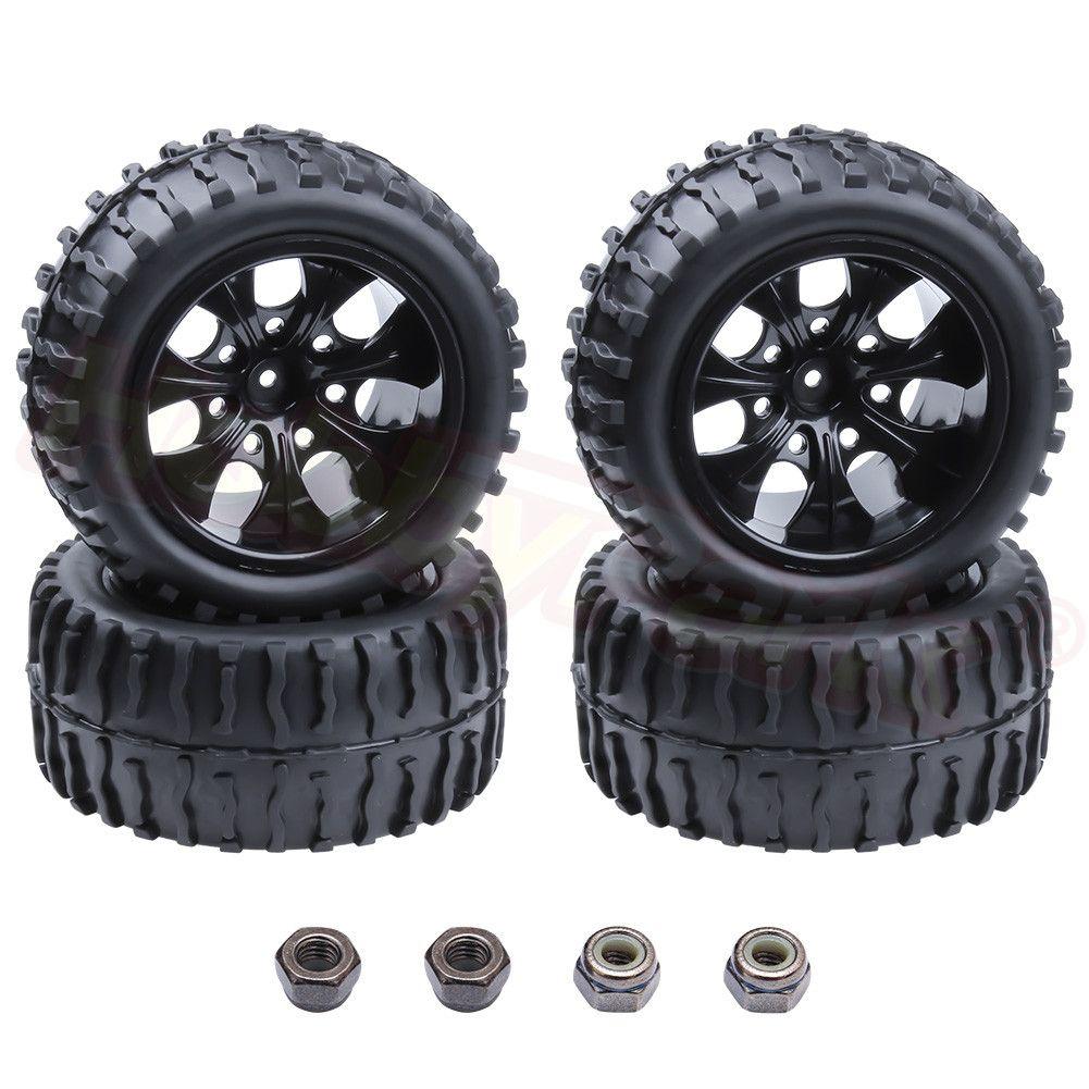 4 pièces RC pneu et jante hexagonale 12MM pour RC Himoto 1/10 hors route monstre camion Fit HSP Amax Redcat dépasser HPI Racing