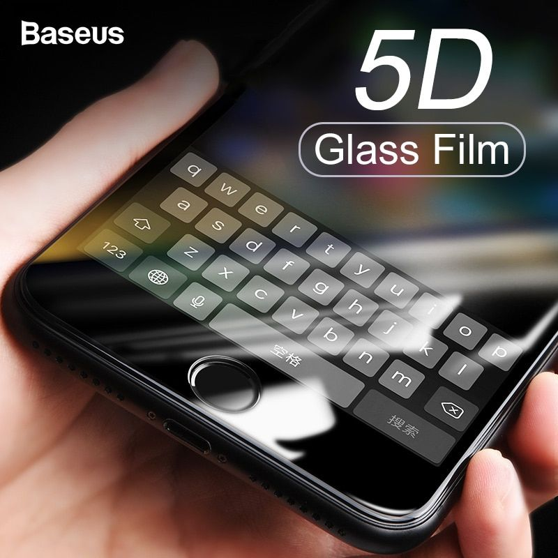 Baseus 5D Protecteur D'écran En Verre Trempé Pour iPhone 8 7 Plus Couverture Complète De Protection Verre Trempé Film Pour iPhone 8plus 7plus