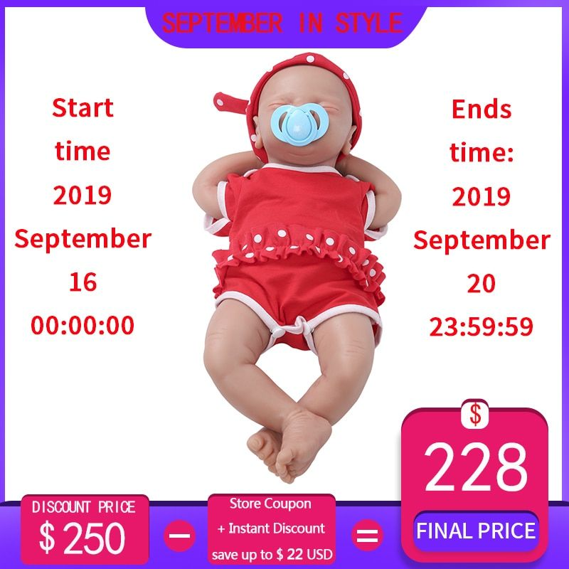 IVITA WG1514 46cm 2972g silikon weiche realistische bebe reborn baby puppe Ähnliche Echt mädchen augen geschlossen juguetes spielzeug für kinder