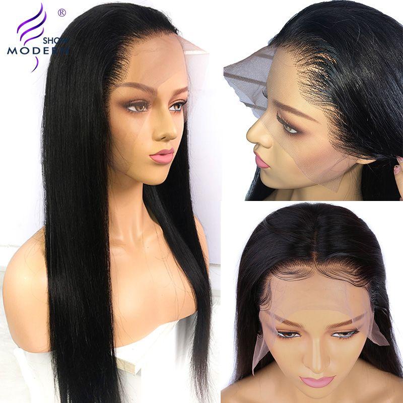 Perruque brésilienne 13*4 avant de dentelle droite perruques de cheveux humains pour les femmes noires Remy perruques humaines pré plumées avec des cheveux de bébé spectacle moderne
