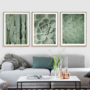 Nordic Poster Green Wall Art Canvas Painting Poster Plant Cactus Posters And Prints Wall Pictures For Living Room Decoration