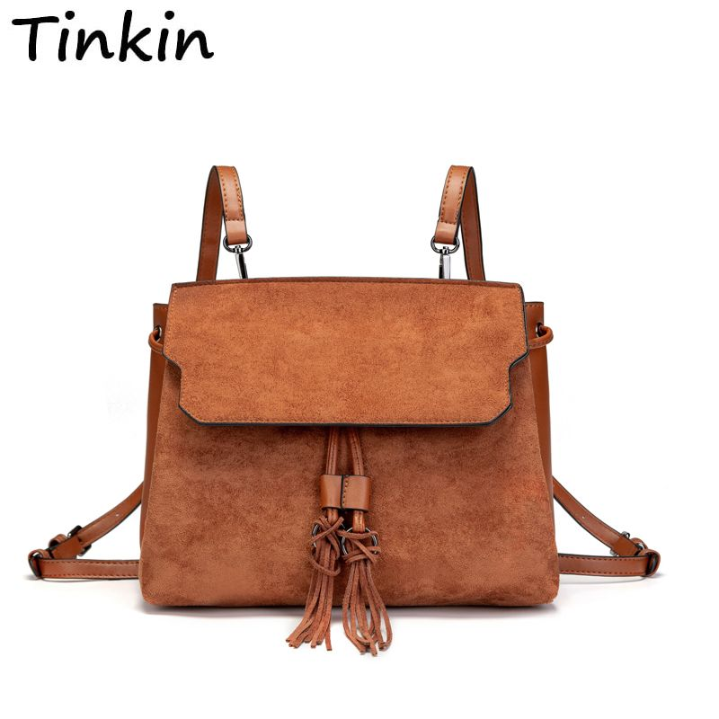 Multi-function Fashion Dual-use Backpack Can Use as Shoulder Bag Vintage School Bag with Tassel for Daily Use