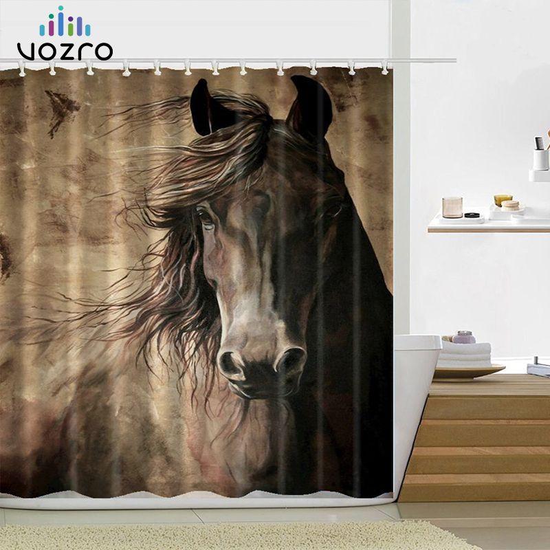VOZRO Retro West Cowboy bottes chapeau chevaux tissu imperméable Polyester douche salle de bain rideau rideaux Douchegordijn Bape Pascoa