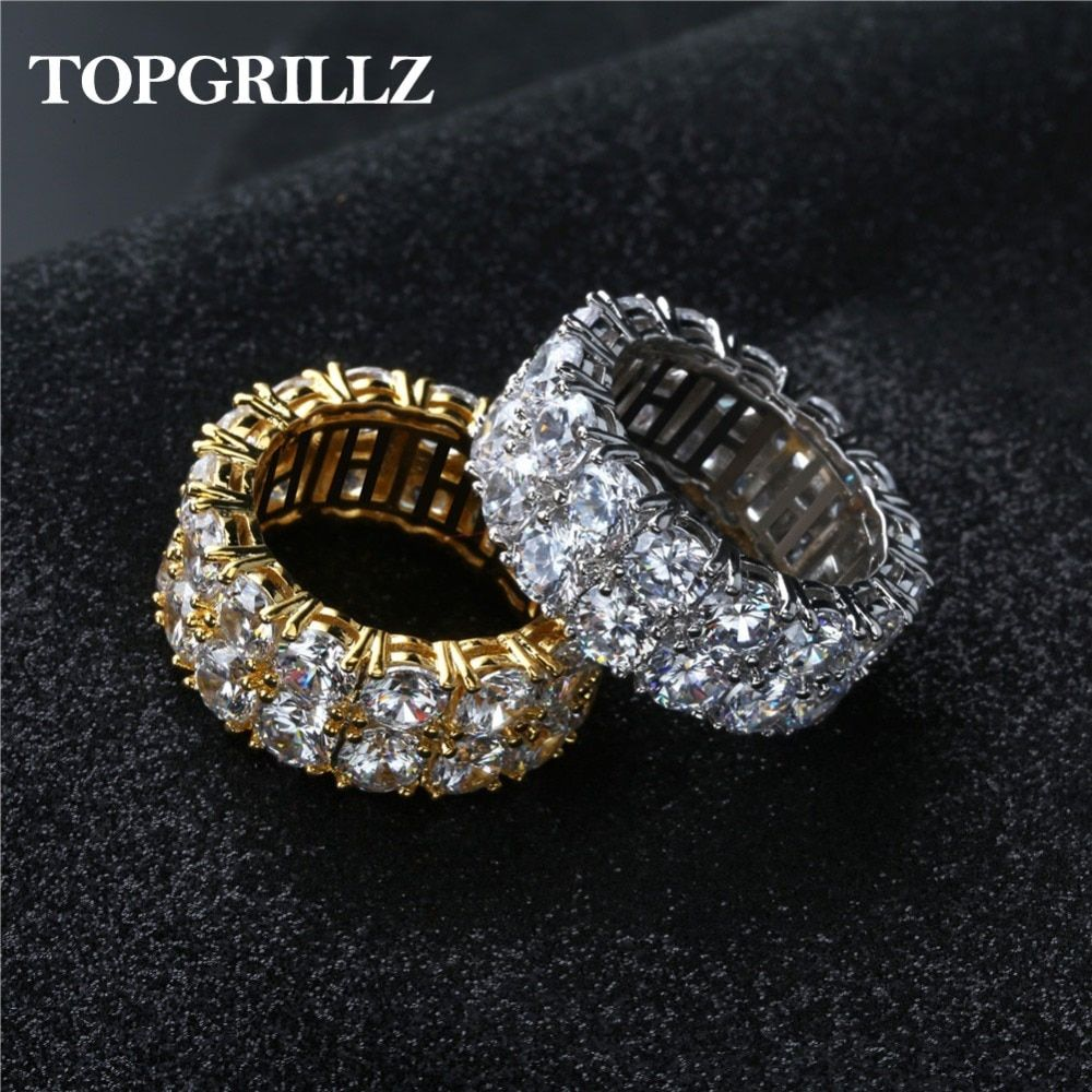 2 Row CZ Solitaire Ring For Men/Women Gold/Silver Color Iced Out Charm Round Ring Band Classic Hip Hop Jewelry For Gifts
