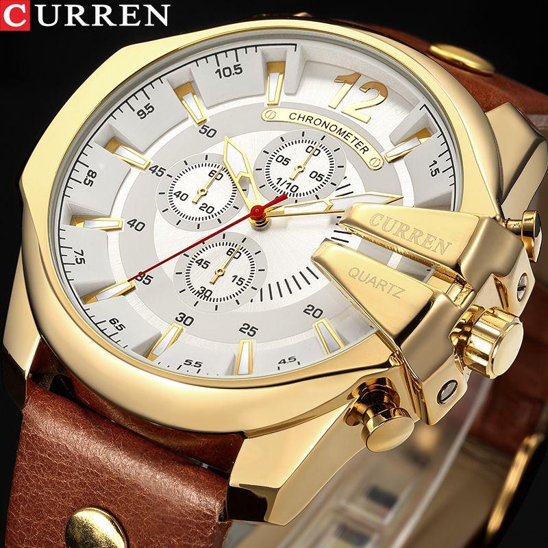 Men Luxury Brand CURREN New Fashion Casual Sports Watches Modern Design Quartz Wrist Watch Genuine Leather Strap Male Clock