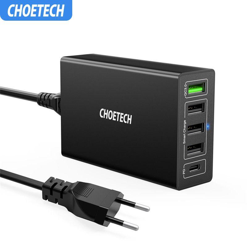 CHOETECH chargeur de USB-C PD 60W 5 ports avec chargeur mural USB QC3.0 pour Samsung pour Station de charge USB Xiaomi