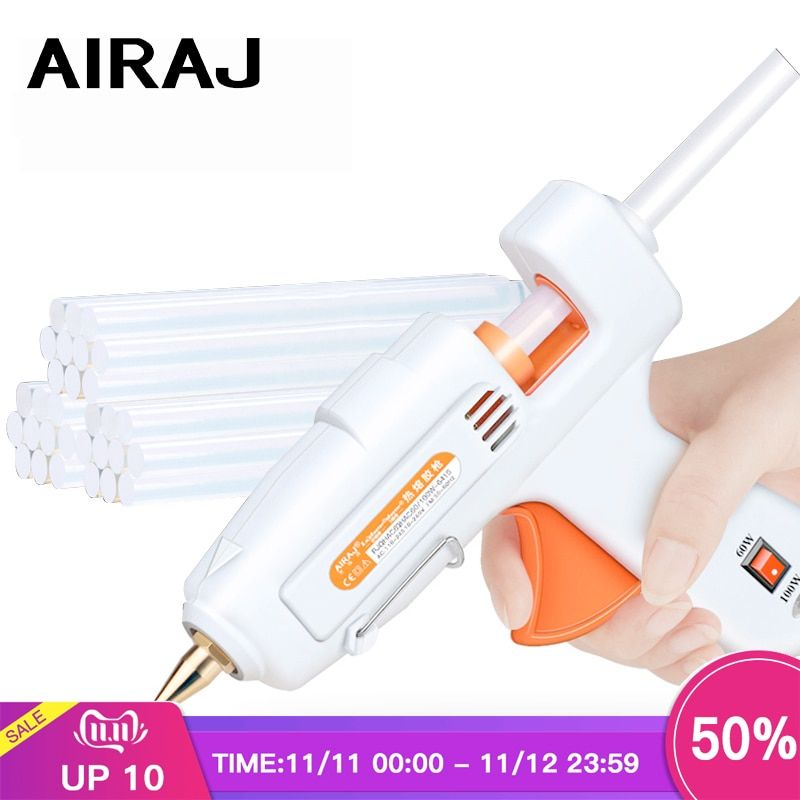 AIRAJ Hot Melt Glue Gun 50W/80W/60-100W/120W with 5/10 Glue Stick and EU Conversion Head High Power Heating Bonding Tool
