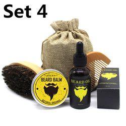 BellyLady 5Pcs/Set Men Moustache Cream Beard Oil Kit with Moustache Comb Brush Storage Bag Styling Beard Set