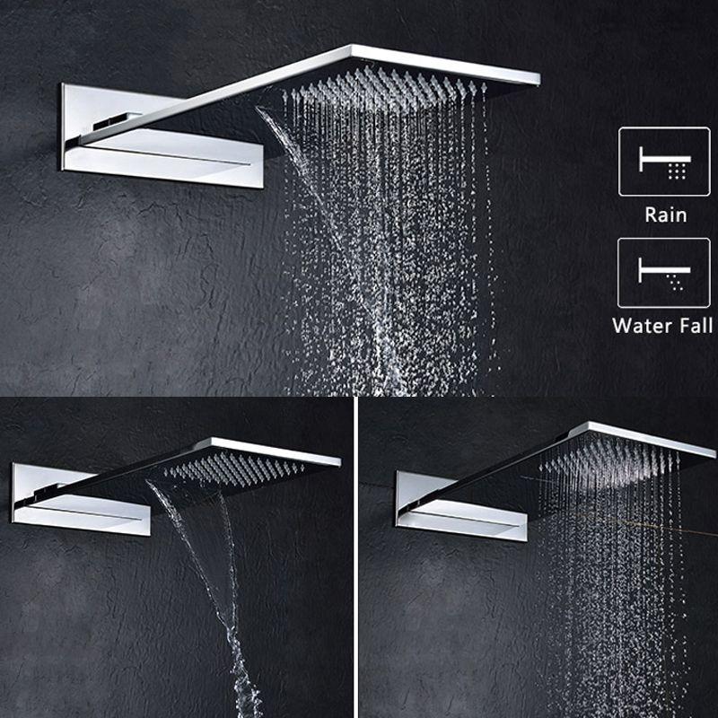 304 acier inoxydable carré plus épais pomme de douche Rectangle forme pluie et cascade mural salle de bains pluie douche Chrome