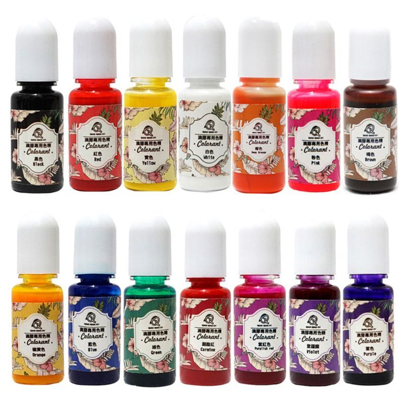 14 pièces/ensemble colorant de résine UV bricolage cristal époxy haute transparence colorant huileux pour l'artisanat faisant le remplissage