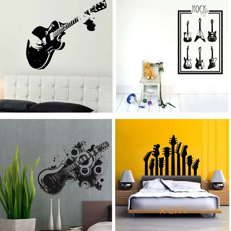 29 Designs grand guitare guitariste STICKER MURAL musique MURAL autocollant vinyle coupe transfert salon décor à la maison