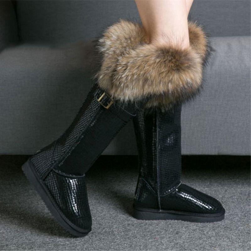 G & Zaco luxe en cuir véritable bottes de neige hiver naturel fourrure de renard bottes hautes imperméables bottes longues plates fourrure de raton laveur