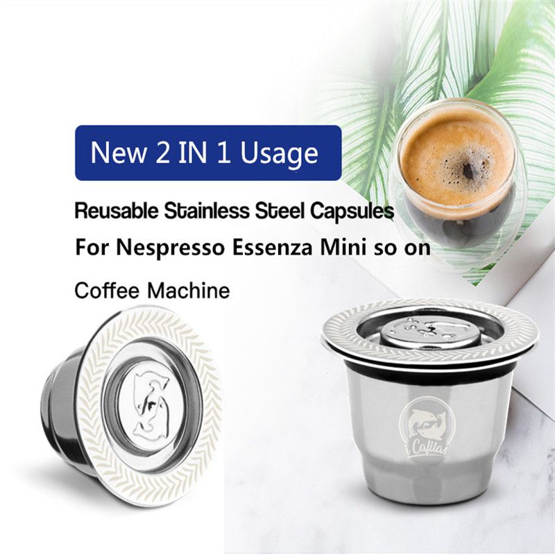 Capsule Nespresso Reutilisable Inox 2 en 1 utilisation Nespresso Capsule rechargeable Crema expresso réutilisable rechargeable Nespresso