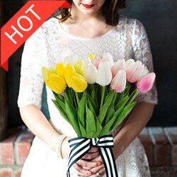 10pcs mini tulips for home decoration artificial fake flowers wedding flower real touch plastic tulips bouquet party decoration