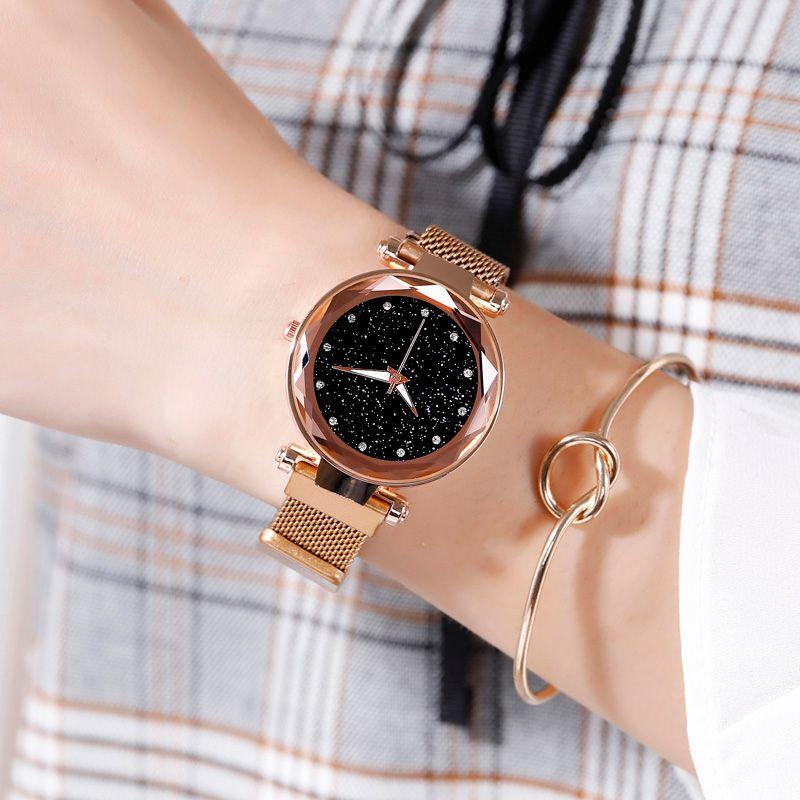 Luxury Women Watch Fashion Elegant Magnet Buckle Vibrato Purple Ladies Wristwatch Starry Sky Roman Numeral Gift Clock