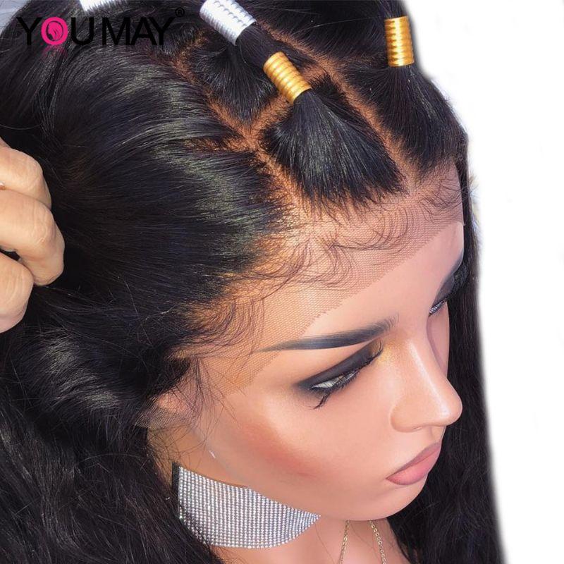 250 densité 13X6 dentelle avant perruques de cheveux humains pour les femmes faux cuir chevelu Barzilian droite 360 dentelle frontale perruque pré plumé YouMay Remy