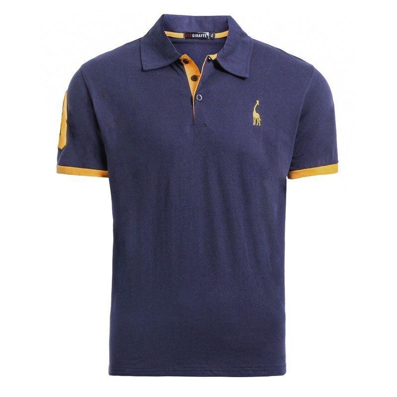 Livraison directe 16 couleurs 100% coton pologirafe T-Shirt hommes cerf broderie à manches courtes T-Shirts décontracté hommes T-Shirt