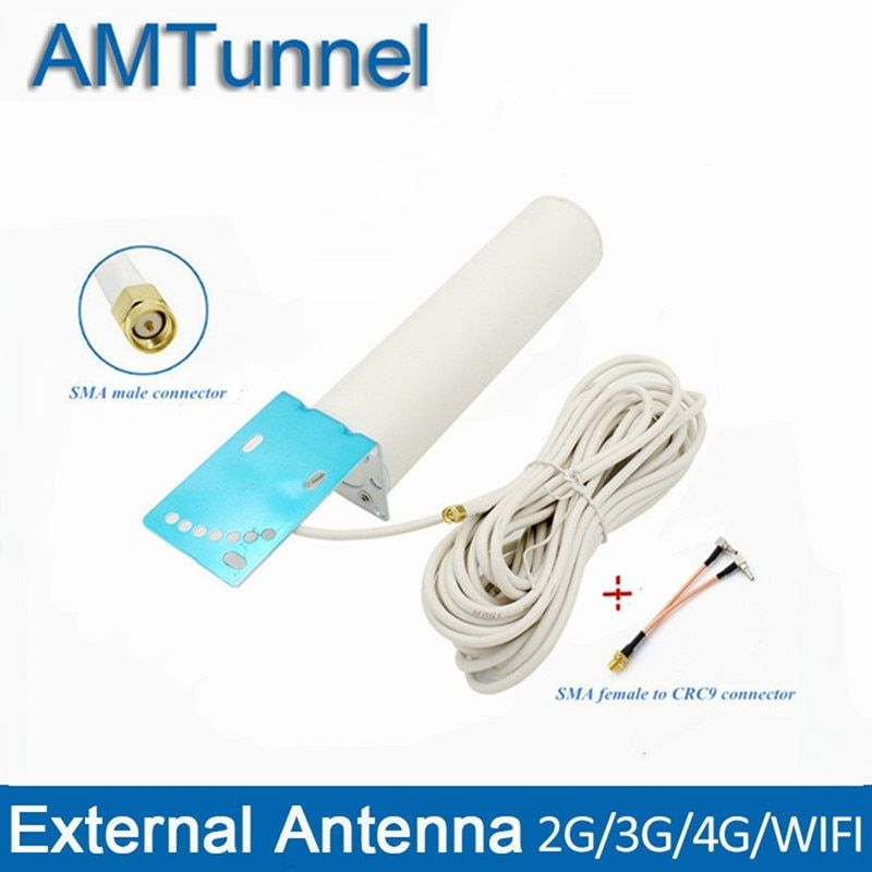 4G LTE antenna 3G 4G external antennna SMA-M outdoor antenna with 10m and SMA-F to CRC9/TS9/SMA connector for 3G 4G router modem