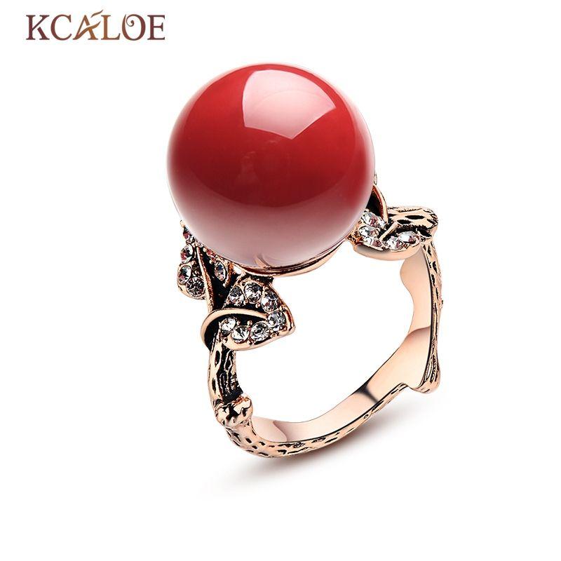 KCALOE pierre naturelle anneaux rouge corail Rose or couleur Bijoux Femme Vintage sculpté cristal strass bague de mariage Bijoux Anel