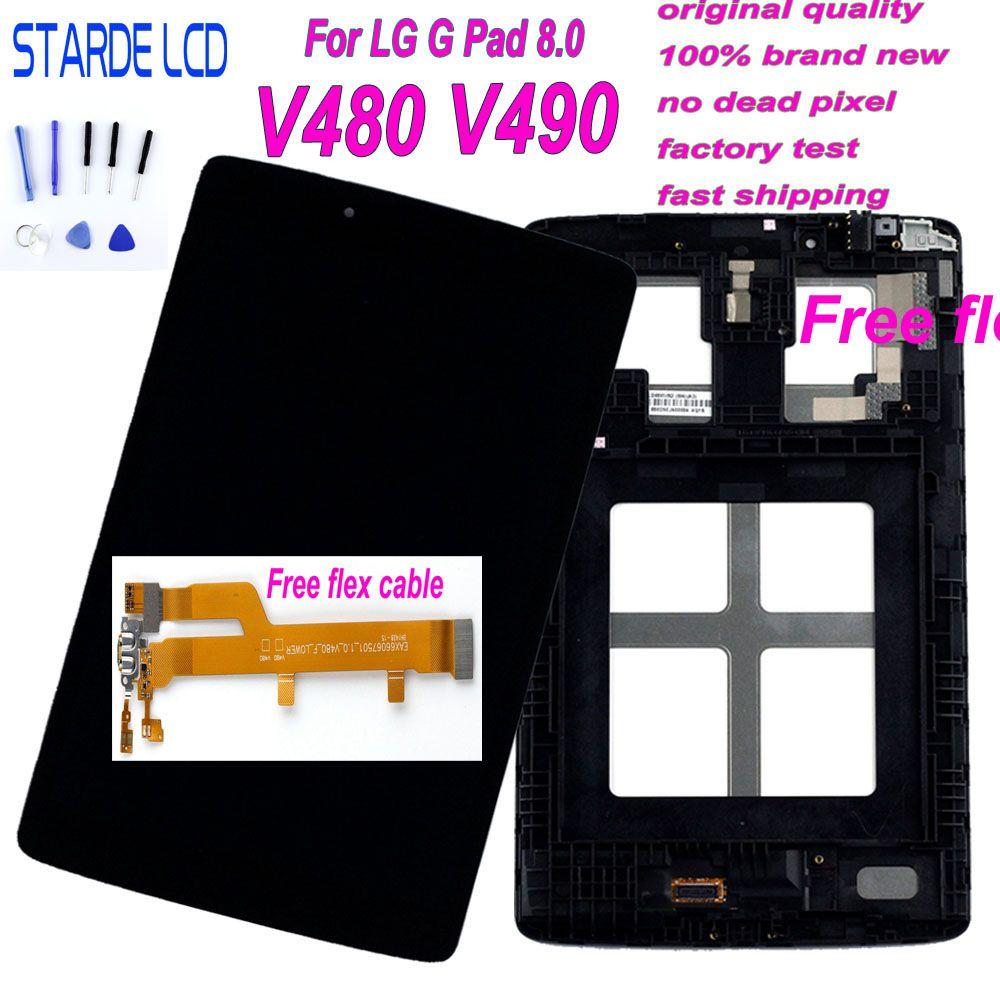 AAA + STARDE LCD pour LG G Pad 8.0 V480 V490 LCD écran tactile numériseur assemblée avec cadre et outils gratuits et câble flexible