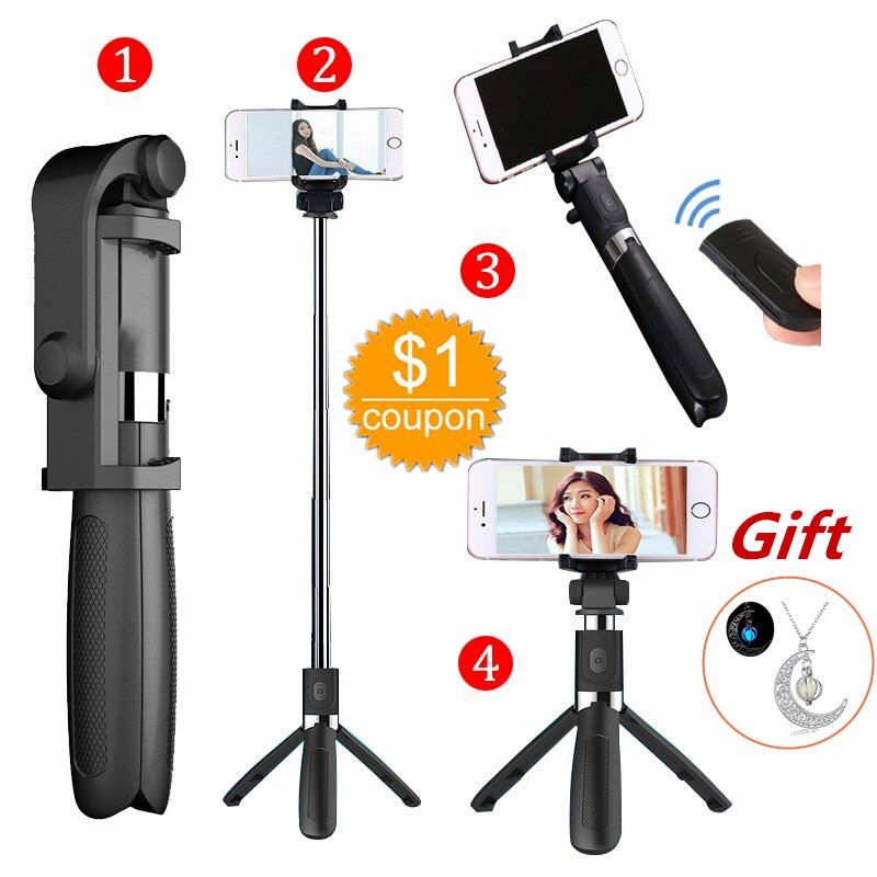 Selfie bâton trépied avec télécommande Bluetooth pour iPhone trépied pour téléphone Gopro Sport caméra lumière monopode avec Clip