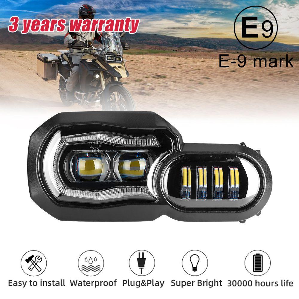 E9 Mark Für BMW F700GS F800GS Adv F800 GSA Komplette LED Projektor Scheinwerfer Montage Scheinwerfer Winkel eye tagfahrlicht licht