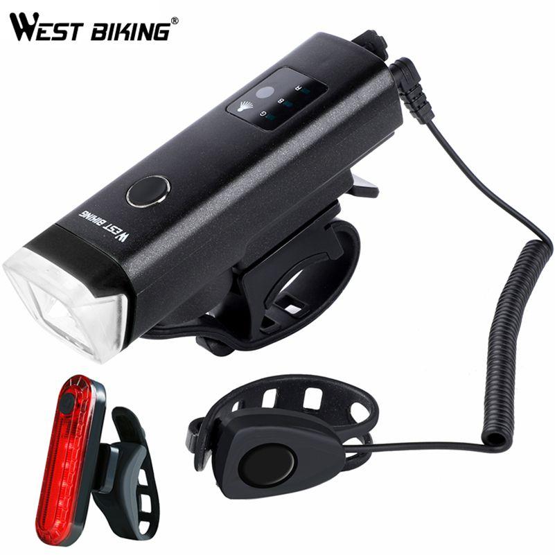 Ouest vélo avant vélo lumière USB LED rechargeable étanche vélo torche vélo phare escalade sécurité lampe de poche lampes