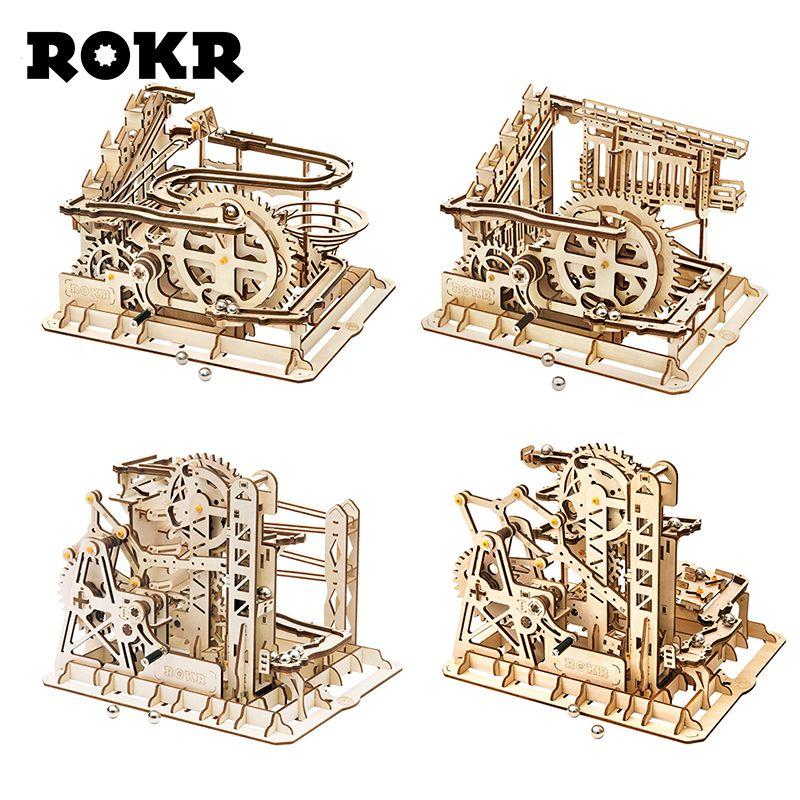 ROKR Marmor Run Labyrinth Kugeln Track Spielzeug Holz Modell Gebäude Kits Für Kinder Erwachsene