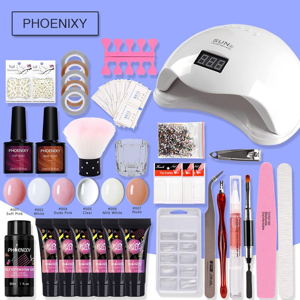 Kit de clou Poly Coffret Gel 48w lampe à LED Vernis À Ongles Ensemble la Construction Rapide Pour Extensions D'ongles Dur Gelée Gel Polygel Manucure Ensemble